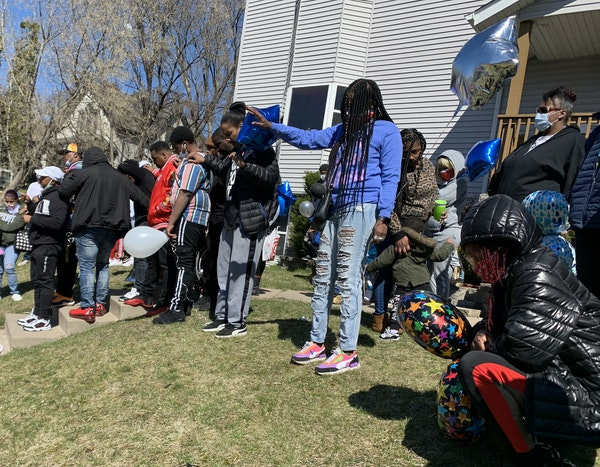 People mourned the loss of shooting victim Kevin Beasley in Minneapolis on Sunday, April 19, 2020. Beasley was shot to death at a house party in Minne