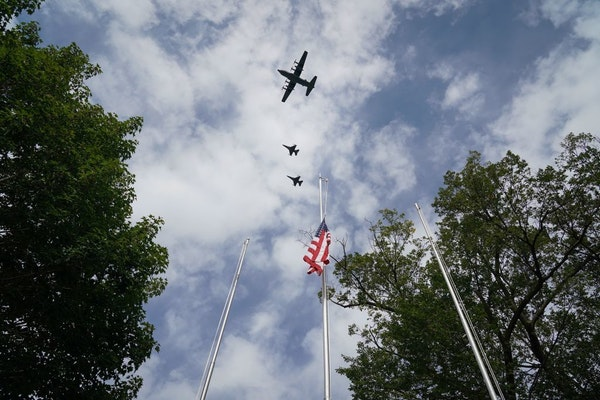 Two F-16 jets from the 148th Fighter Wing in Duluth and a C-130 Hercules with the 133rd Air Wing, in a 2019 flyover at the Minnesota State Fairgrounds