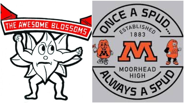 The Blooming Prairie Awesome Blossoms and Moorhead Spuds are the top seeds in the MSHSL's nickname tournament.