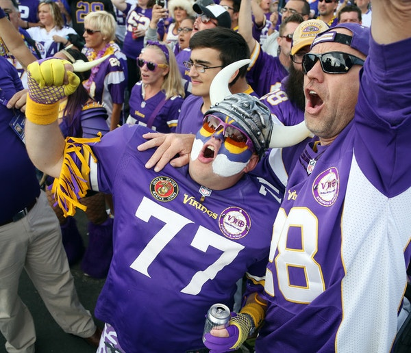 Tom Nickerson, left, and Grant Sparks tailgated before the Vikings home opener at TCF Bank Stadium in 2015.