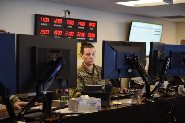 Capt. Ashley Birdsall of the Minnesota Army National guard in the Joint Operations Center officer for the Guard's COVID-19 response unit.