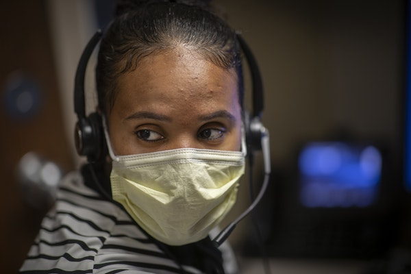 Interpreter Lansa Dawano worked at the M Health Fairview call center to interpret the Oromo and Amharic languages for callers, Wednesday, May 20, 2020