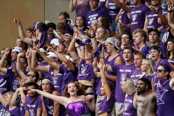 University of St. Thomas fans cheered from the stands late in the second half of a football game last season.