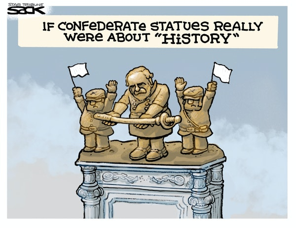 Sack cartoon: Historically accurate statues