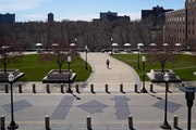 A mostly deserted University of Minnesota campus shown in April. University of Minnesota President Joan Gabel laid out a plan for social distancing in