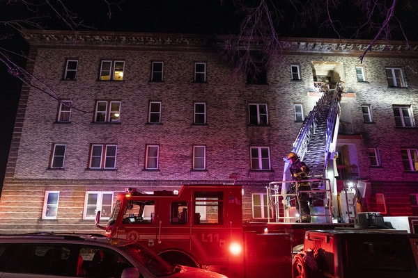 A Minneapolis fire crew shown battling a blaze in February.