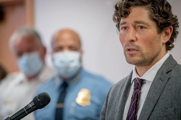 Mayor Jacob Frey speaks during a news conference Thursday, May 28, 2020 in Minneapolis.