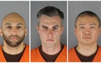 The booking mugs of the three former Minneapolis officers charged Wednesday with aiding and abetting murder. From left are J Alexander Kueng, Thomas L