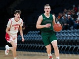 Bryce Paul, Concordia Academy, dribble the ball upcourt during the 2020 basketball season.AMSA Courage in Competition winner, 2020