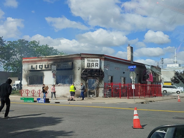 The remnants of the Hexagon Bar on Friday morning after it was ravaged by fire overnight.