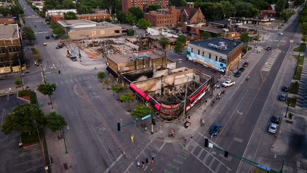 Aerial video of Minneapolis shows aftermath of rioting, looting