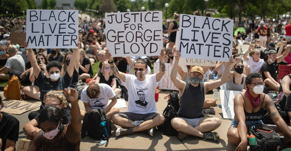 Protesters gathered at the State Capitol in St. Paul during a youth rally for George Floyd on Tuesday.