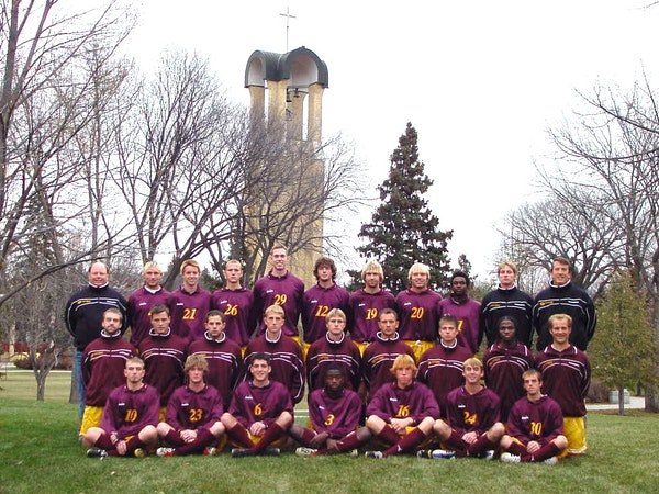 The 2003 Concordia College soccer team. Coach Jim Cella is in the top right on the right.