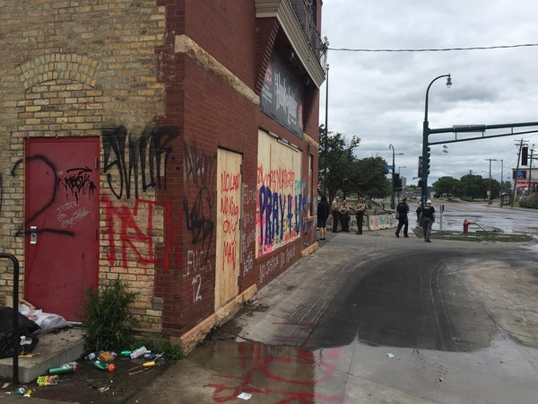 The Hook & Ladder Theatre was damaged but still stood after last week's rioting along East Lake Street.