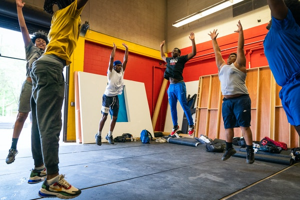 The Minneapolis North football team worked out in the school weight room during the first available day of summer workouts -- and the first time prep