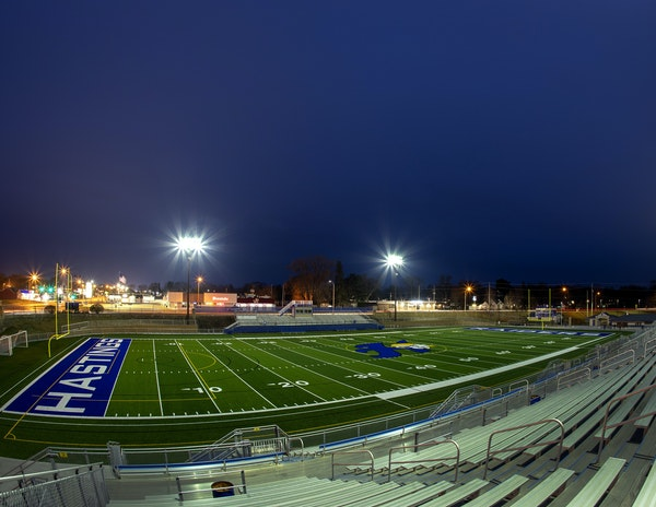 Hastings' Todd Field is empty now. As for this fall, if the Raiders play, it's uncertain how those game nights will look: Will there be any fans?