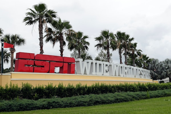 A sign marking the entrance to ESPN's Wide World of Sports at Walt Disney World is seen Wednesday