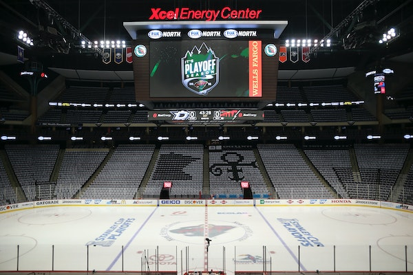Xcel Energy Center, seen here with a tribute to Prince prior to a Wild playoff game in 2016.