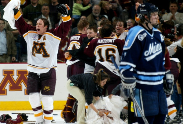 The Gophers' John Pohl notched three points in the 2002 NCAA hockey championship game.