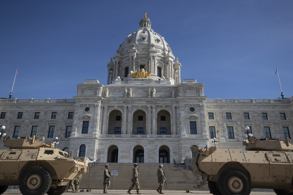 The Minnesota national guard surrounded the Capitol on Sunday. ] Jerry Holt •Jerry.Holt@startribune.com