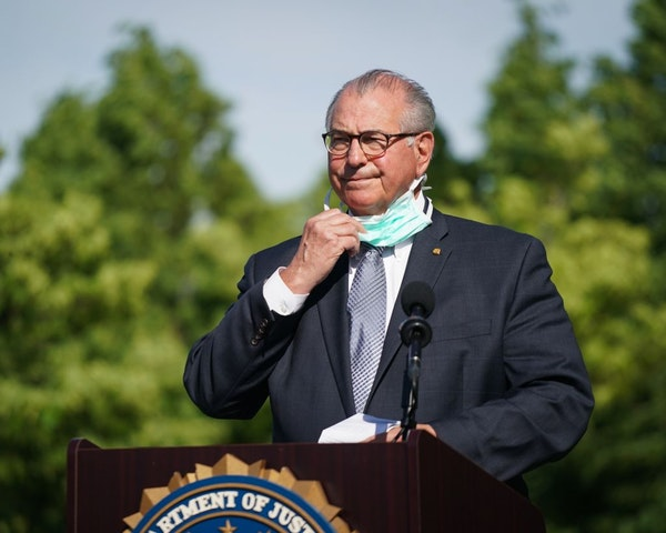 Officials investigating the death of George Floyd, including Hennepin County Attorney Mike Freeman, held a press conference on the grounds of the Fede