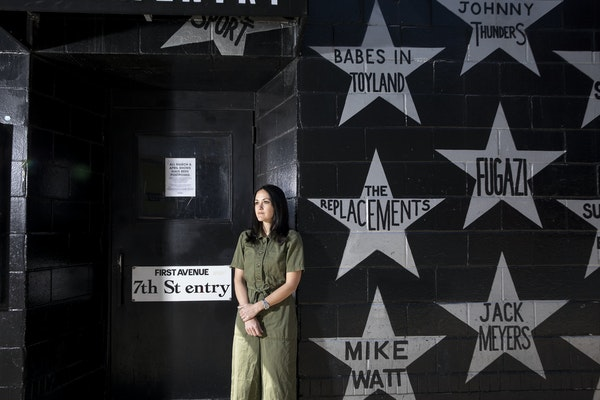 Dayna Frank, owner of First Avenue, stood outside the music venue in downtown Minneapolis. With concerts on hold during the pandemic, independent venu