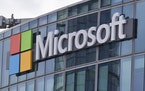 The Microsoft logo in Issy-les-Moulineaux, outside Paris.