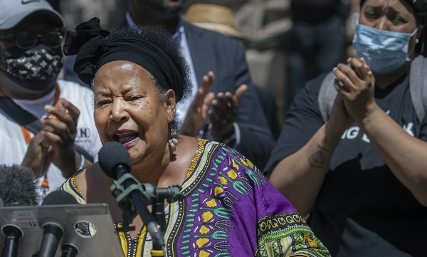 Rosemary Nevils-Williams, mother of slain activist Tyrone Williams, joined community leaders Thursday outside Minneapolis City Hall.