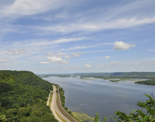 A blufftop view of Minnesota's Great River Road region that runs from Hastings south to the Iowa border