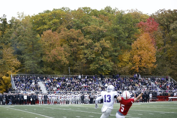 Fall colors were still hanging on during the Oct. 13, 2018 matchup between St. John's and St. Thomas in Collegevillle.