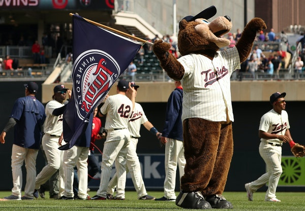 The Minnesota Twins mascot T.C. Bear celebrated the win on the field. ] ANTHONY SOUFFLE • anthony.souffle@startribune.com Game action from an MLB ga