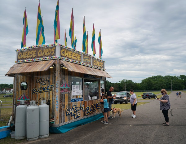 State Fair food vendors are setting up in parking lots, vacant county fairgrounds and grassy areas all over the metro area, to draw those hungry for a