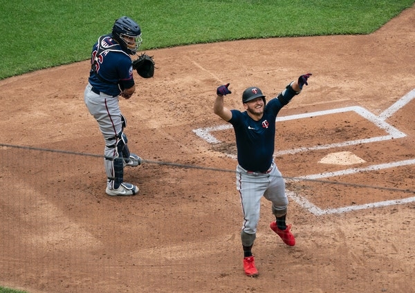 Twins third baseman Josh Donaldson celebrated after hitting a home run in a scrimmage at Target Field