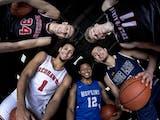 The Star Tribune All-Metro boys' basketball first team, from left: Chet Holmgren, Minnehaha Academy; Jalen Suggs, Minnehaha Academy; Kerwin Walton, Ho