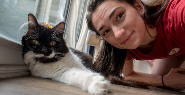 Kyra Condie, a rock climber from Shoreview, adopted two cats, including Pepper, above, during the coronavirus pandemic.