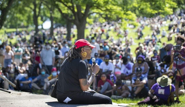 """Andrea Jenkins vice president of the Minneapolis City Council, spoke in June to community members at """"The Path Forward"""" meeting at Powerhorn Park, a m"""