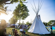 """The tipi is a place of refuge for women and children at the homeless encampment in Powderhorn Park: """"I knew my people were here,"""" Tammey Skinaway"""