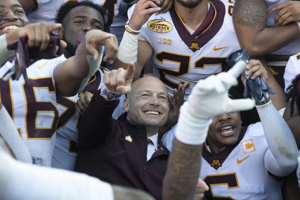 Gophers coach P.J. Fleck and his players celebrated their Jan. 1 Outback Bowl victory over Auburn.