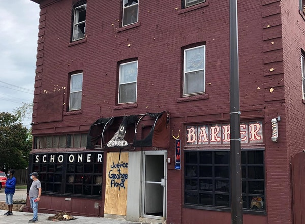 The Schooner Tavern is seeking help in boarding up its damaged facade Thursday.