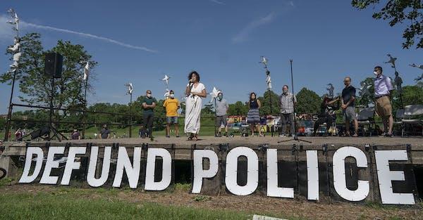 "Ninth Ward Council Member Alondra Cano spoke to community members at ""The Path Forward"" meeting at Powderhorn Park in Minneapolis on Sunday, June"
