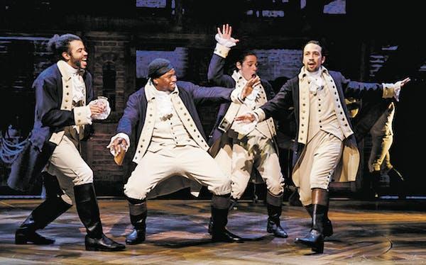 Daveed Diggs as Marquis de Lafayette, Okieriete Onaodowan as Hercules Mulligan, Anthony Ramos as John Laurens and Lin-Manuel Miranda as Alexander Hami