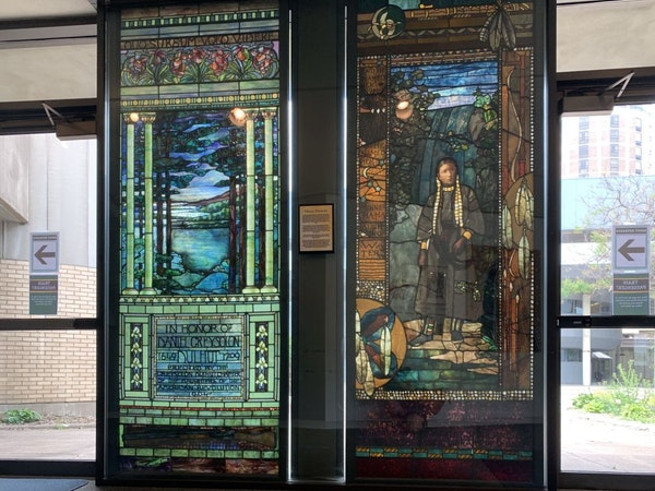 The city of Duluth decided against selling two Tiffany stained-glass windows, which are displayed downtown in the St. Louis County Depot, to help patc