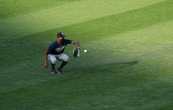 """Twins center fielder Byron Buxton caught the ball during a team scrimmage at Target Field. """"His defense is like no other. The best I've ever seen,"""