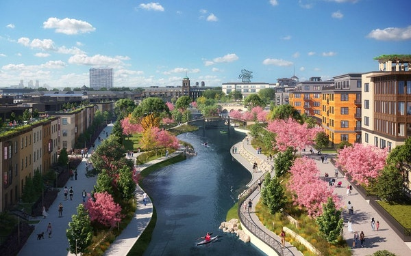 A view of the Highland Bridge central water feature at the St. Paul development, released during the virtual groundbreaking Tuesday.