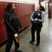 Darnella Frazier, left, chatted with school resource officer Drea Leal at Minneapolis Roosevelt High School in January 2019.