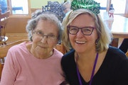 Gladys Falk, left, with her daughter Candace Falk during a visit to her senior home. Gladys Falk died COVID-19 on June 2.