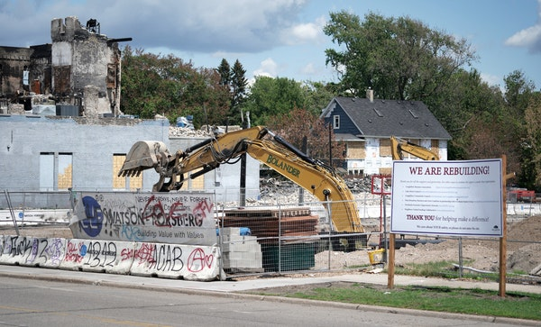 Demolition crews cleared the site of the 198-unit apartment building that was under construction before it was burned to the ground in Minneapolis dur