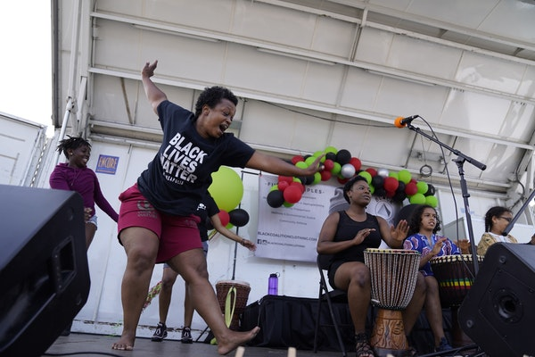 Kenna Cottman performed with Voice of Culture Drum and Dance at the Juneteenth Community Festival and Rally for Justice in north Minneapolis on Friday