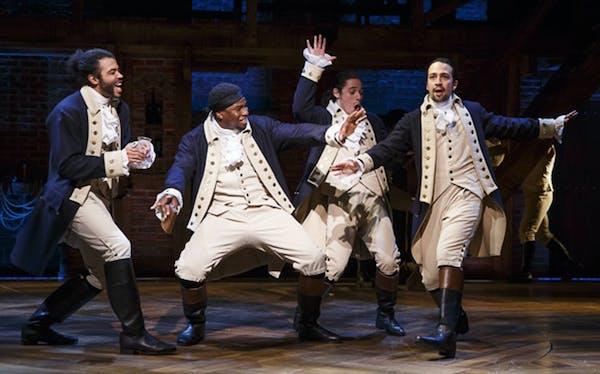"Daveed Diggs, Okieriete Onaodowan, Anthony Ramos and Lin-Manuel Miranda in ""Hamilton."""