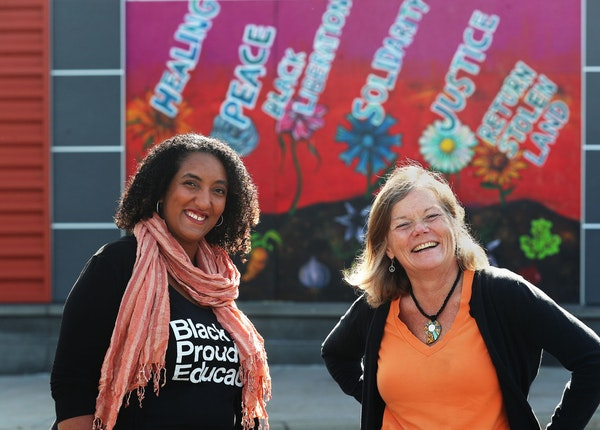 """Crixell Shell, left, and Donna Minter joined forces through Minnesota Peacebuilding Leadership Institute. """"People need the language"""" to talk about"""